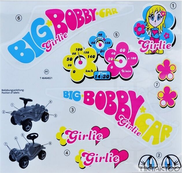 Big Bobby Car Classic Girlie Stickers Sticker Decals