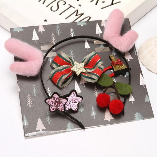 Kids Baby Girls Christmas Boutique Head Clips Hair Bows Handmade Cute Xmas Gift