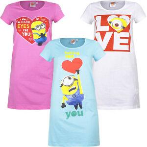 Pyjama Set Schlafanzug Nachthemd Damen Mädchen Minions Rosa Weiß S M L XL #100