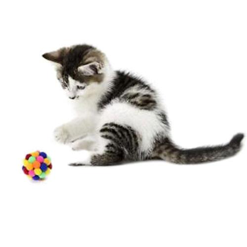 Pet Cat Toy Colorful Handmade Bells Bouncy Ball Built In Catnip Interactive ToyT