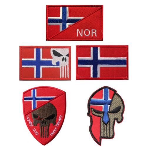Norway Flag Badges Skull Punisher Patches Sew On Embroidered High Quality