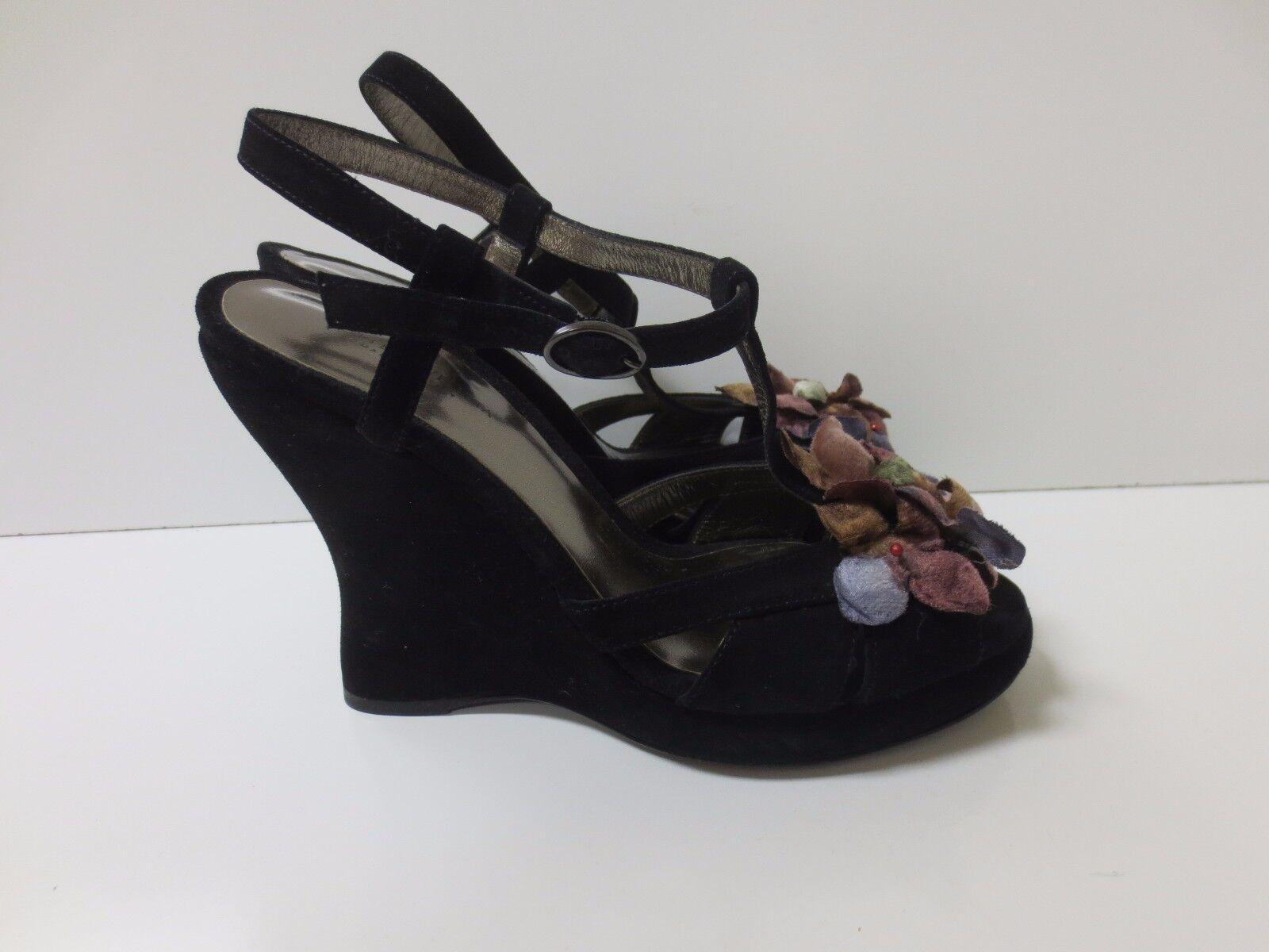 BOTTEGA VENETA nero Suede T-Strap Sandals Wedge Heels Heels Heels 36 Worn Once 13058e