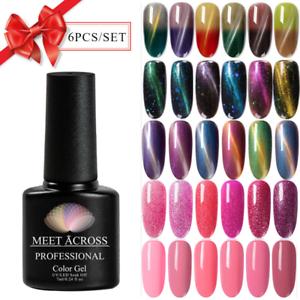 MEET ACROSS 6Bottles/Set Gel Nail Polish Kit UV LED Glitter Top Base ...