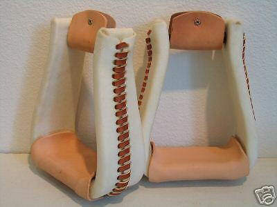 Western saddle  stirrups 3  Deep Roper, rawhide leather MADE IN USA, NEW  brand