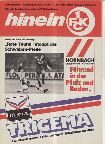 BL 88//89 1 VfB Stuttgart FC Kaiserslautern