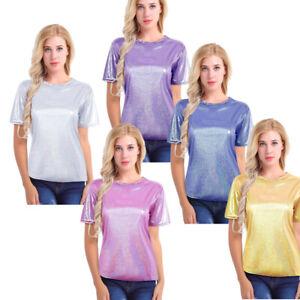 Brillante-metalizado-brillante-para-Mujer-Manga-Corta-Blusa-Prendas-para-el-torso-Camiseta-Camiseta