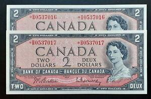 1954-Bank-of-Canada-2-Cosecutive-Pair-Replacement-Note-B-B0537016-17-BC-38bA