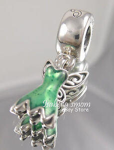 53e0834ee Image is loading Disney-TINKERBELL-DRESS-Genuine-PANDORA -Green-Enamel-DANGLE-