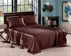 Satin Silky Soft and Luxury Bedding Sheet & Pillowcase Sets, Chocolate, 3 Size