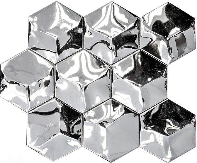 Mosaik Hexagonal 3D Stahl glänzend Fliesenspiegel Küche Art 129-HXM10SG 10Matten
