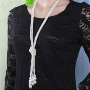più recente a1d49 9e0ee Damen Halskette Perlenkette lang Kette Perle Pullover ...