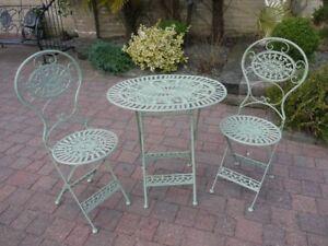 Détails sur 3PC Vert mobilier de jardin pliante bistro PATIO meubles TABLE  OVALE en métal- afficher le titre d\'origine