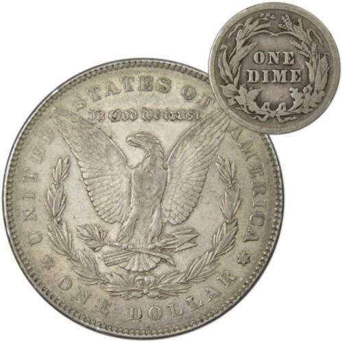 1878 7TF Rev of 1878 $1 Morgan  XF EF with 1913 Barber 10c G Coin Lot 2nd Rev