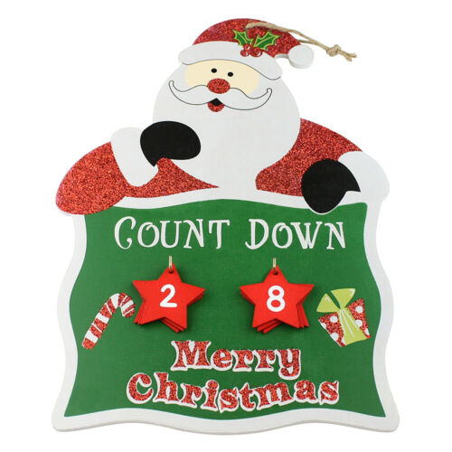 Christmas Hanging Wooden Decoration Advent Calendar Santa Claus Xmas Home Decor