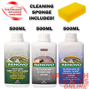 Details about RENOVO DARK BROWN SOFT TOP REVIVER KIT CLEANER - COLOUR -  WATER & UV PROOFER