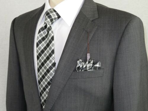 Men/'s Wool Cashmere Sharkskin Suit Giorgio Cosani Two Button 901 Charcoal Gray