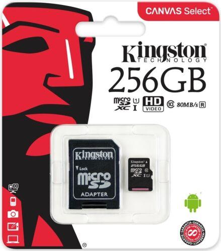 CARTE MICRO SD SDCS 256 GO GB CLASSE 10 KINGSTON SDCS/256GB UHS-I HD 80 Mb/s