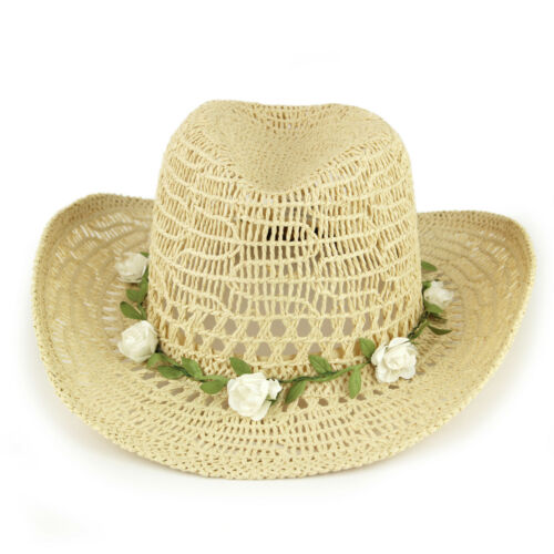 Straw Paper Cowboy Hat with Flower Garland by Hawkins