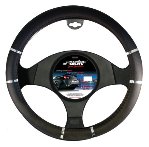 Coprivolante Auto Universale Chrome Black Diametro 37-39cm Simoni Racing
