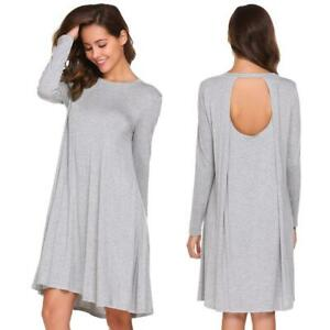 Women-Casual-Long-Sleeve-Backless-Solid-O-Neck-Loose-T-Shirt-Dress-H1PS-07