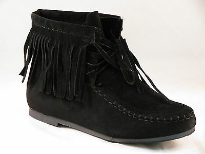 New Womens Cute Ankle Faux Suede Fringe Beaded Tassle Moccasin Dress Boots 2