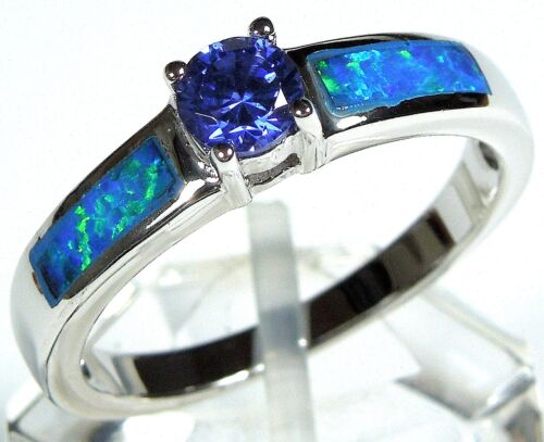 Tanzanite /& Blue Fire Opal Inlay Solid 925 Sterling Silver Ring size 6,7,8,9