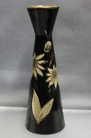 Vase Scheurich Keramik schwarz glasiert Gold Rockabilly 50er J. H. 28,5 cm T6