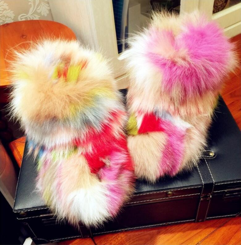 marche online vendita a basso costo Donna  Luxury Multi Colore Real Fur Fur Fur Snow stivali Leather Casual Flat scarpe  saldi
