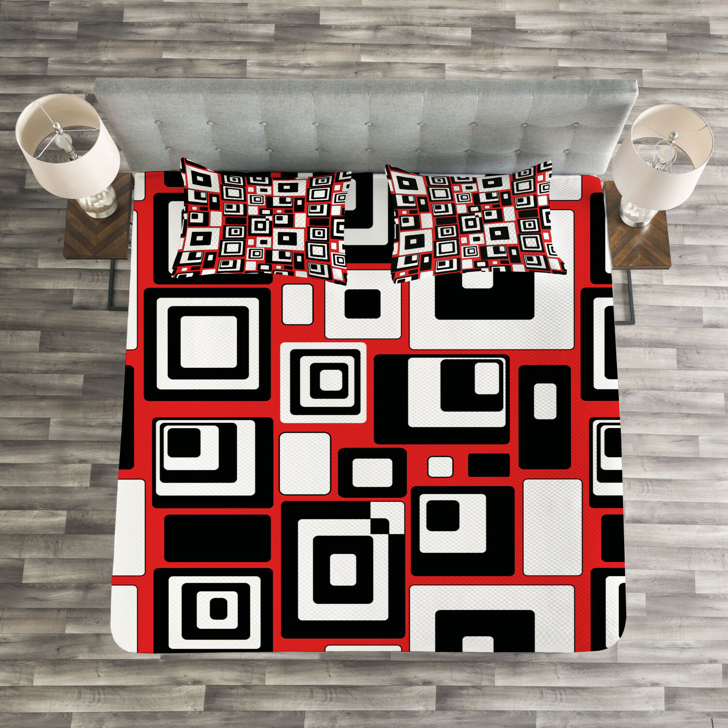Abstract Quilted Bedspread & Pillow Shams Set, Minimalist Retro Artsy Print