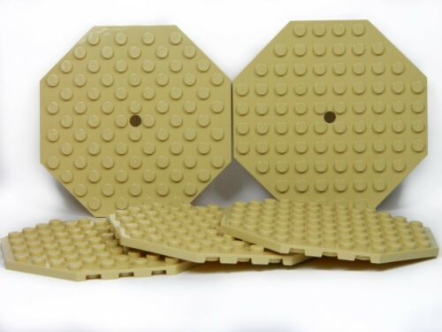 LEGO Large Plates Octagonal TAN # 10x10 # pack of 5 # flat base plate # NEW