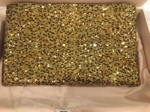 05c825b6e649 Image is loading Prada-Sequin-Metal-Clutch-Gold-and-Bronze