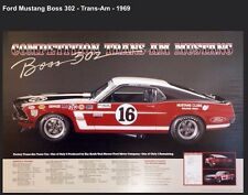 Race History of The 1969 Comp Ford Boss 302 Trans-Am Mustang Poster!Xmas Deal