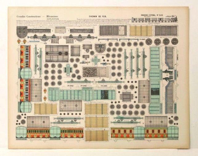 Imagerie d'epinal no 510 Chemin de Fer grandes construcciones papel de Juguete Modelo