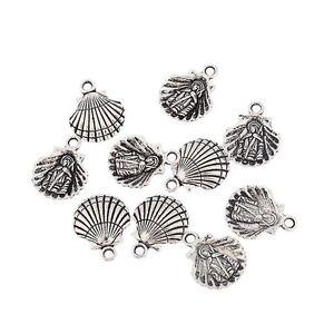 10pcs-CLAM-SHELL-SEASHELL-Tibetan-Silver-Beads-Charms-Pendentif-Fit-Bracelet