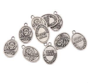 First-holy-communion-oval-Tibetan-Silver-Bead-charms-Pendants-fit-bracelet-10pcs
