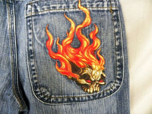 JNCO Jeans - VINTAGE FLAMING SKULL 26x27 Youth Jea