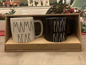 Rae Dunn - Magenta - Mama Bear 🐻 Papa Bear 🐻 Mug Set - Black & White 2 Mug Set