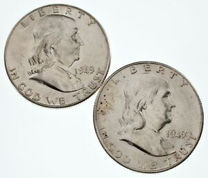 Lot-of-2-Franklin-Half-Dollars-1949-amp-1949-S-in-AU-Condition-Nice-Luster