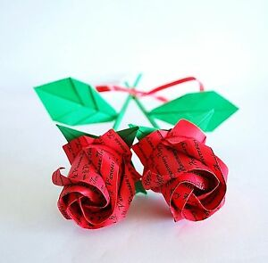2 Origami Roses Paper flowers holiday Valentine Anniversary bouquet gift unique