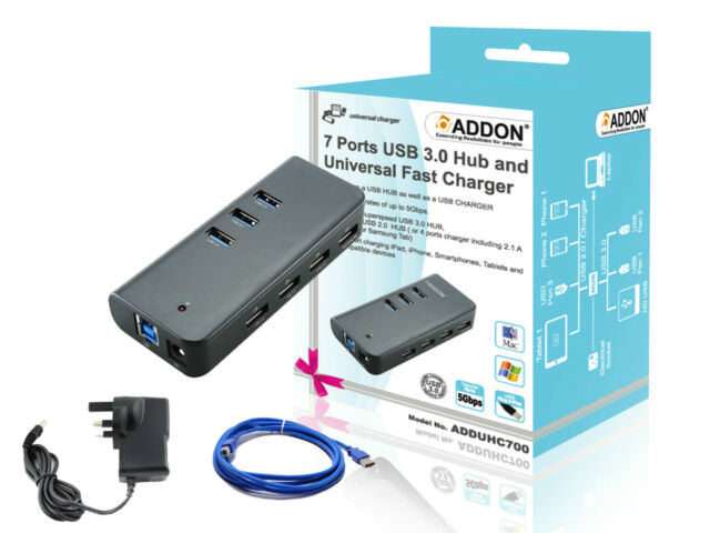 Addon ADDUHC700 7 Ports USB 3.0 Hub and Samsung Galaxy Note 2 3 4 Edge Charger