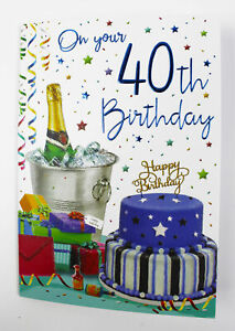 Image Is Loading Happy 40th Birthday Greeting Card Amp Envelope Seal