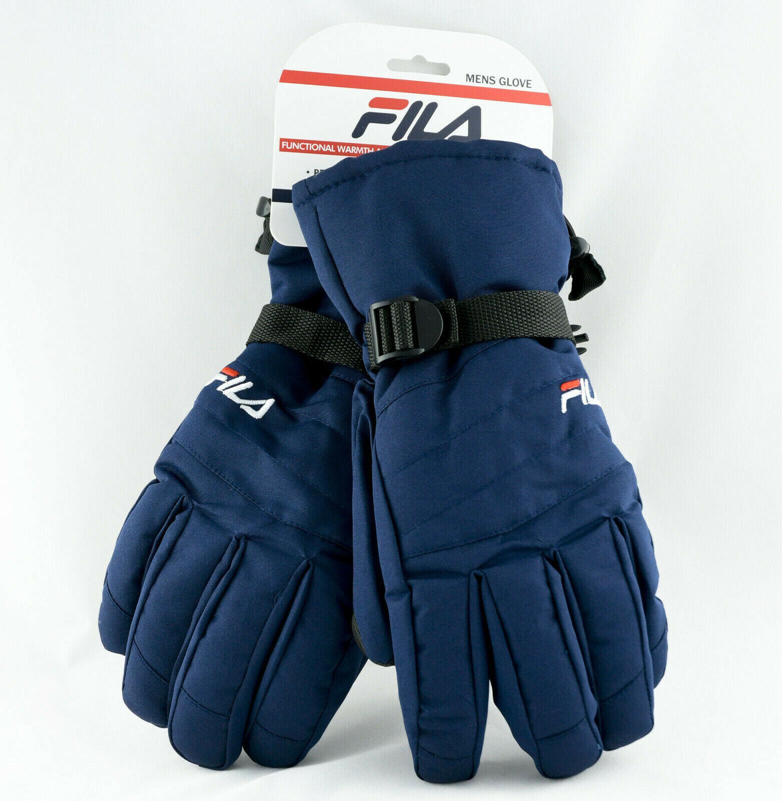 💠~FILA ~Logo Men`s Blue Ski Sport Gloves Cold Winter Snow Size Large NEW