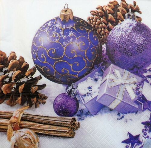4 x Single Paper Napkins Christmas Violet Baubles Decoupage and Crafting 101