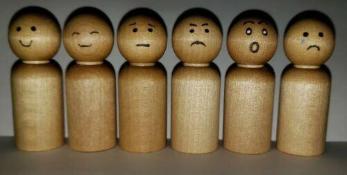 Wooden Emotions Dolls Feelings Montessori Natural Wood Minimalist toy