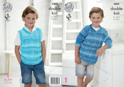 King Cole Boys Double Knitting Pattern V Neck Sweater /& Tank Top Vogue DK 4465