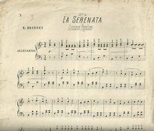 La Serenata Canzone Popolare di E. Becucci Spartito per Pianoforte 1890