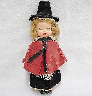 "Vintage Roddy Hard Plastic Girl Doll 6"" Welsh Native Costume Cape Black Top Hat"