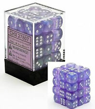 Chessex Dice (36) Block Sets 12mm D6 Borealis Purple w/ White Pips CHX 27807