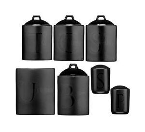Image Is Loading Black Ceramic Text Jars Tea Coffee Sugar Canisters