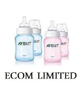 Philips-Avent-Slow-Flow-2-x-Bottle-260ml-9oz-Pink-Blue-free-intern